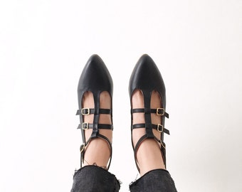 Caged Pointed Vegan Leather Strappy Flats (Handmade to Order)
