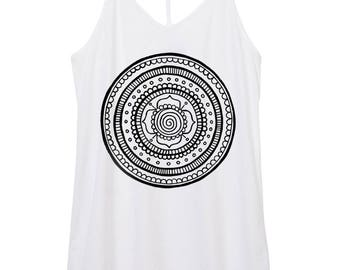 mandala - womens skinny strap satin cotton mandala tank top, mandala tank top, shape shirt, flower,  tank top