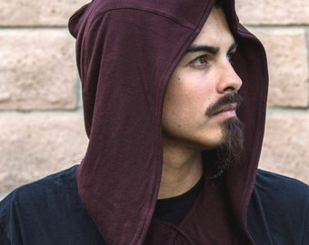 SALE- Knit Hood in Solid Brown or Slate Gray by Opal Moon Designs (Unisex/ Men's/ ONE SIZE)