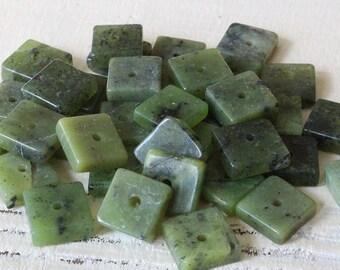 8mm Gemstone Tile Beads - Jewelry Making Supplies - Nephrite Jade - Green Canadian Jade - 20 beads