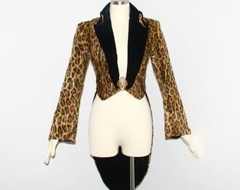 NORMA KAMALI OMO Vintage Leopard Coat Faux Fur Tux Tails