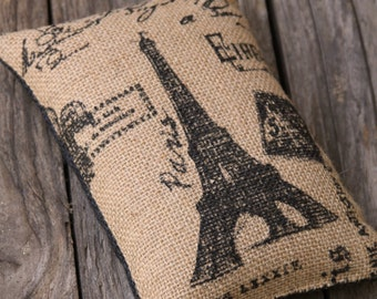Doorstop, Eiffel Tower, Burlap, Pin Cushion, Paper Weight, Shelf Sitter, Bowl Filler, Bookend, Black & Natural, Shabby Chic, French Country.