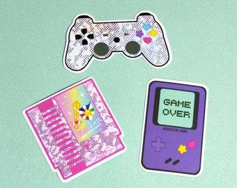 Magical Girl Gamer Vinyl Sticker or Sticker Pack - Kawaii Video Game Vinyl Stickers