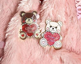 Valentine's Day Dump Him Bear Enamel Pin with Glitter