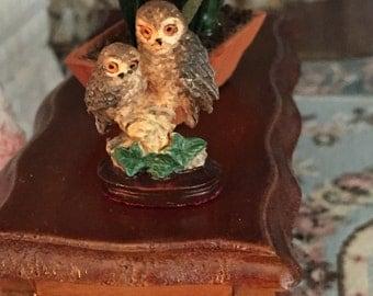 Miniature Dollhouse Figurine, Owls Figurine, Owl Couple, Dollhouse Miniature, 1:12 Scale, Miniature Knick Knack, Decor, Collectible