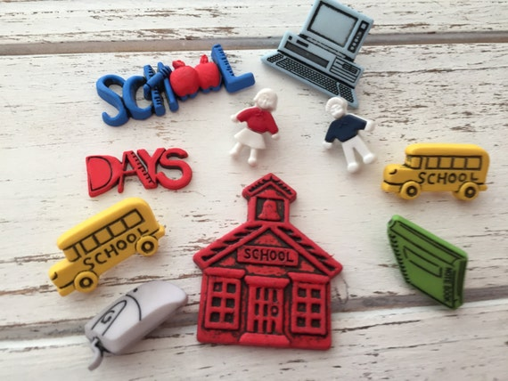 "School Buttons, Packaged Novelty Button Assortment by Buttons Galore, ""School Days"" Style 4043, Shank Back, Sew Thru, & Flat Embellishments"