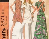 1970s Short Sleeve Dress with Nehru Collar - Vintage Pattern McCall's 2371 - Bust 36