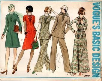 1970s Maxi Dress, Tunic & Pants - Vintage Pattern Vogue 2949 - Size 12 Bust 34 UNCUT FF