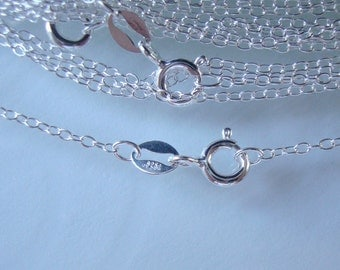 """1.3x1.75mm, 16"""", 925 Sterling Silver Flat Cable Finished Chain with Spring Clasp, anti tarnish"""