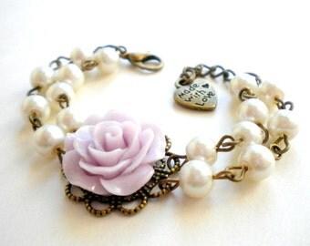 Flower Girl Bracelet Lavender Bracelet Flower Girl Jewelry Children Bracelet Little Girl Gift Lavender Wedding Rose Bracelet