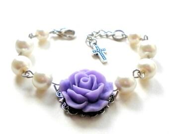Baptism Bracelet Lavender Bracelet Catholic Rosary Bracelet Baptism Gift Girl Flower Girl Bracelet Baby Pearl Bracelet Flower Girl Gift