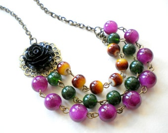 Exotic Jewelry Jungle Necklace Green Statement Necklace Summer Necklace Multi Strand Necklace Tropical Necklace Green Jungle Jewelry