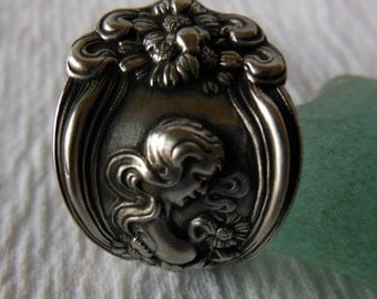 He Loves Me by Unger   Antique  Sterling Silver Ring   Size 8.5