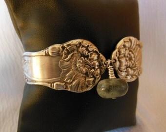 Antique Spoon Bracelet with Aquamarine Gemstone Bead    8 inch