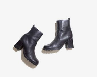 Vintage Ankle Boots 6 / Black Leather Boots / Ankle Boots Women / Zip Up Ankle Boots
