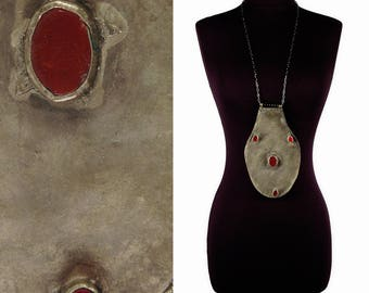 Massive TRIBAL Runway Necklace - Statement Jewelry - WARRIOR Necklace - Silver and Red Glass BREASTPLATE - Vintage 70s Kuchi Ethnic Pendant