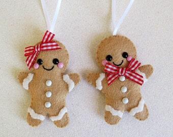 Felt Gingerbread Couple Decoration, hanging decoration, cute festive decor, felt christmas tree decoration, cute gingerbread ornaments