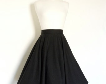 UK Size 10 -Striped Black Fine Wool Circle Skirt - Made by Dig For Victory