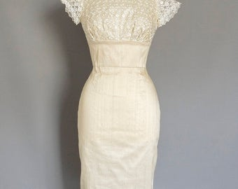 Champagne Silk Dupion & Pearl Lace Pencil Wedding Dress - Made by Dig For Victory