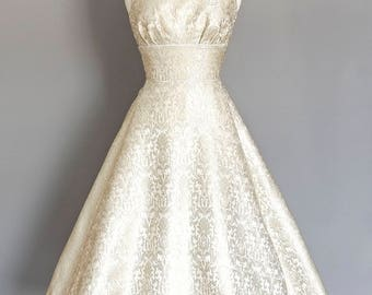 Silver and Pearl Brocade Wedding Dress with Dipped Hem  - Made by Dig For Victory