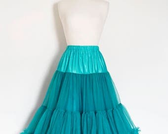 Teal Blue Swing Petticoat - Soft - Two Layer - Fifties Petticoat - Tulle - Wedding - Retro - Swishy
