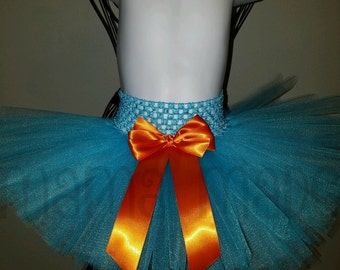 Turquoise and Orange Tutu,Under the Sea Tutu, Turquoise tutu, girls tutu,flower girl tutu,birthday tutu,wedding tutu,photo prop tutu,full