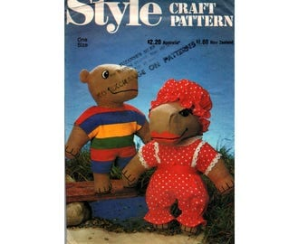 Style 3024 Male & Female HIPPO Stuffed Toy Soft Doll 80s Vintage Sewing Pattern UNCUT Factory Folded