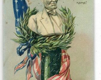 President Abraham Lincoln Lives In Endless Fame Patriotic 1910c Tuck postcard