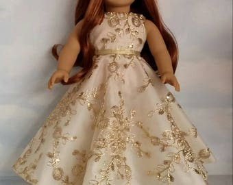 18 inch doll clothes - #201  Gold Sequin Gown Handmade to fit the American Girl Doll - FREE SHIPPING
