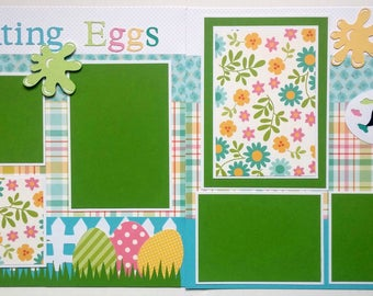 Easter scrapbook layout - 12x12 premade scrapbook page - 12x12 premade scrapbook page easter - 12x12 Easter scrapbook page - Easter Bunny