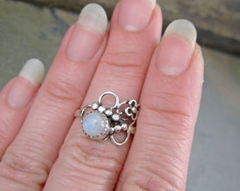 Abstract Filigree Moonstone Ring - Size 7 - Scrolling Asymmetrical Floral Band