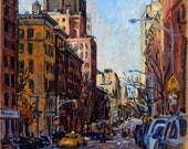 Late Afternoon Light, Madison Avenue, NYC. Oil on Canvas 12x12 Impressionist Cityscape, New York City Oil Painting, Signed Original Fine Art