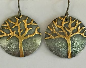 Silver Brass Round Tree Mixed Metal Earrings