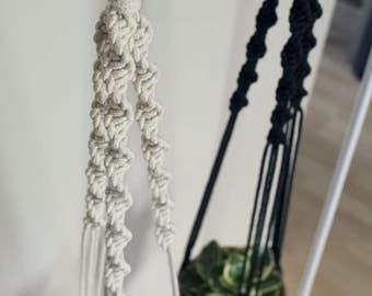 Macrame Spiral Plant Hanger | Black Rope | 3 Strand Indoor Hanging Planter | Plant Pot Holder | Boho Decor