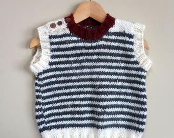 FRENCH VEST Striped School Sweater Gray Ivory Retro Handmade Vintage Sleeveless Baby Infant Hand Knit Wool Boy Girl Nuetral Ribbed