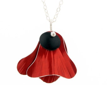 Red Flower Pendant - Gift fo Her - Aluminum and Silver Jewelry