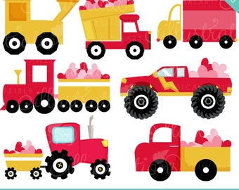 Haulin Hearts Cute Digital Clipart - Commercial Use OK - Heart Trucks, Valentine Truck Clipart, Valentine Graphics, Valentine Clipart