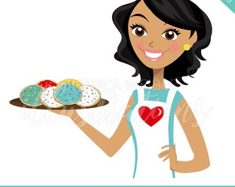 Instant Download Character Illustration, Cookie Baker, Dark Short Wavy Hair, Woman with Cookies, mom entrepreneur, Cartoon Woman -#CI015
