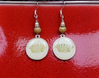 Old World Crown Earrings, Gold Crown Sterling Silver Earrings, Brown Crown Earrings, Cream Crown Earrings