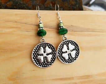 Green 4 Leaf Clover Sterling Silver Earrings, Clover Sterling Earrings, Irish Clover Green Sterling Silver Earrings, Shamrock Earrings