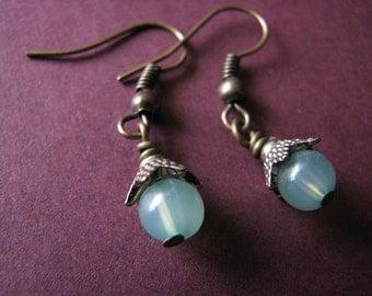 Green earrings | tiny | dangle | sea foam green | spring | small | bohemian