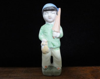 "Vintage China Boy Figurine, Chinese Boy, Hand Painted Ceramic Figurine, Made in Japan, Collectable Knick Nack, 3.25"" High"
