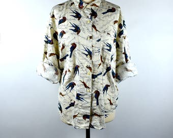 Hunting Dogs and Pheasants, Long Sleeve Cotton Blouse by Dockers, Size Small