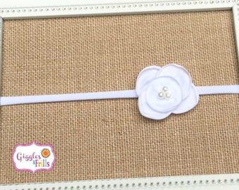 White Flower Headband, Baptism Headband, Flower Girl Headband, White Baby Headband, Nylon Headband, Toddler Headband, Newborn Headband