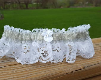Silver Glitter Sparkle White Prom Bridal Lace Garter Wedding Accessory Small Medium