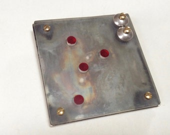 Sterling Resin Bolts Red Dots Kinetic Steampunk Studio Brooch Pin – 1980s Jewelry