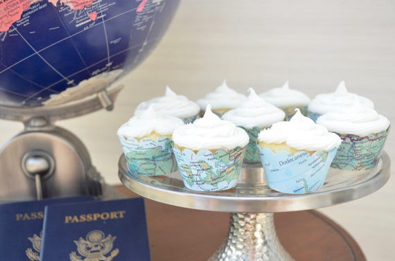 Vintage Map Mini Cupcake Wrappers - Let the adventure begin with these colorful world atlas mini wrappers.