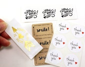 Sticker sample pack -Limit 1 per customer - gold foil happy mail, smile!, thank you with red heart, you rock!