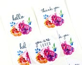 Shop Exclusive - Bright & bold spring florals stickers - hello stickers, thank you stickers, you are loved stickers