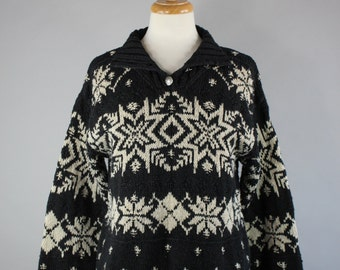 Vintage 90s Women's Ralph Lauren Black Beige Snowflake Handknit Ski Nordic Design Winter Sweater